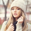 Stock Photo: Blonde in knitted clothes