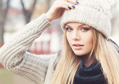 Blonde in knitted clothes — Стоковое фото