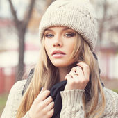 Blonde in knitted clothes — Stock Photo