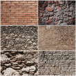 Set of brick and rocks wall banners backgrounds — Stock Photo