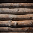 Wooden logs wall of rural house  — Stock Photo