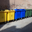 Stock Photo: Plastic big trash recycling bins on street