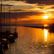 Harbour and the yachts at sunset — ストック写真
