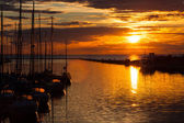 Harbour and the yachts at sunset — Stock Photo