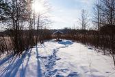 Winter pond summer house — Stock Photo