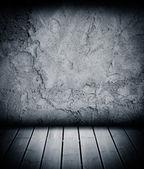Houten vloer en concrete muur gestructureerde achtergrond — Stockfoto