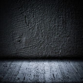 Black background wall and floor texture — Stock Photo