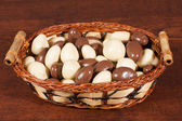 Nuts in chocolate in whisker basket — Stock Photo