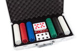 Poker set in metal suitcase — Stock Photo