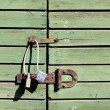 Stock Photo: Padlock locking wooden door