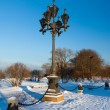 Antique frosty lamppost and beautiful snow  — Stock Photo