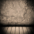 Wood floor and concrete wall textured background — Stock Photo #19386643