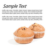 Sweet chocolate chip muffins over white with text — Stock Photo