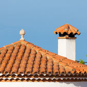 Small statue on the red roof — Stock Photo