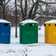 Large bins for rubbish and trash, recycling and waste — Stock Photo #22336009