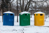 Large bins for rubbish and trash, recycling and waste — Stock Photo