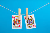 King and Queen of Hearts isolated with clothes peg rope — Stock Photo