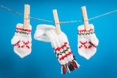 Scarf and pair of gloves drying — Stock Photo