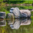 Stock Photo: Pond with stones reflection