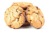 Chocolate chip cookies isolated on white — Foto Stock