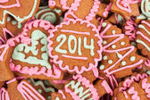 Homemade new year cookie with 2014 number — Stockfoto
