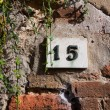 Three dimensional house number fifteen. — Stock Photo