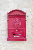 Vintage red metal mail box — Stock Photo