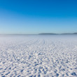 Winter foggy field under snow — Stock Photo