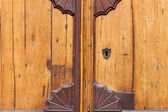 An old wooden and grungy locked door — Stock Photo