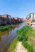 Picturesque houses on the river in Girona, Spain — Stok fotoğraf