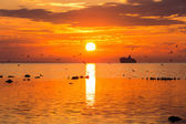 Cruise liner ship in sunset in sea — Photo