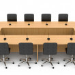 Stock Photo: Office table and chairs with microphones for discussions