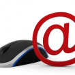 Computer mouse and e-mail sign. 3d render.isolated on a white background — Stock Photo #16365727
