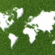 Map of the world on grass isolated on green background — Stock Photo