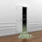 Dinero vertido hacia fuera la puerta como un símbolo de la riqueza — Foto de Stock