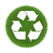 Trace of recycling on the green grass in the form of an icon — Stock Photo