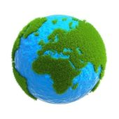 The globe with the continents located on it from the green grass — Foto de Stock