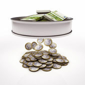 Sieve sieving euro money coins — Stock Photo