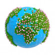 Stock Photo: Blossoming planet with continents africa