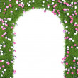 Frame with green grass and flowers — Stock Photo #19189449