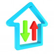 Stock Photo: House with arrows symbolizing download home Internet