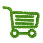 Green grass shopping basket — Stock Photo