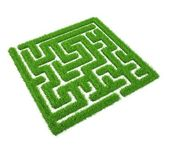 Green grass maze isolated on white background — Stock Photo