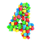 Number 4 of colorful cubes — Stock Photo