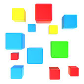 Abstract colored cubes flying forward — Stock Photo