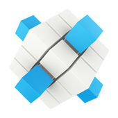 Abstract 3d blocks departing from the inside — Stock Photo