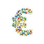 Euro currency symbol made of colorful pills — Stock Photo