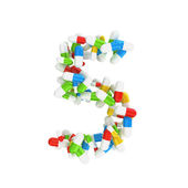 5 number made abstract with colorful pills — Stock Photo