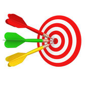 Darts took center targets — Stock Photo