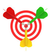 Frontal view of the target darts — Stock Photo